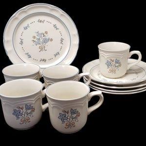 Vintage Cordella Bluet Plates and Cups (10 pcs)